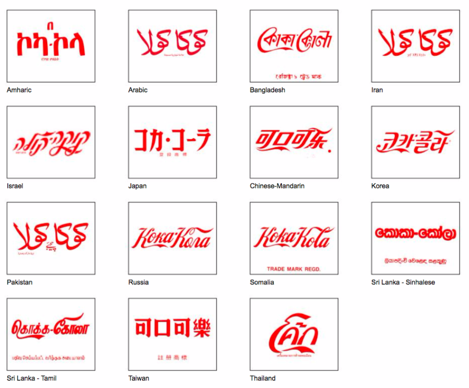 Coca-cola multilingual logos