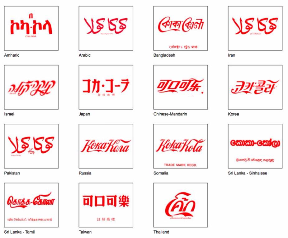 Coca-cola multilingual logos